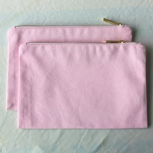 Light Grey Canvas Makeup Bag Blank Pink Cotton Colors ) For DIY Cosmetic Craft (2 Toiletry Cnunj