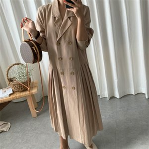 LANMREM LANMREM new summer fashion women dress Loose large size suit coat casual turn-down collar double breasted pleated Y201001