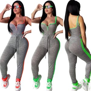 Fashion Women's Sports Suit Explosion Models Spell Color Sleeveless Halter Piece Pants Suit Siamese Two-piece Set Size S-XL