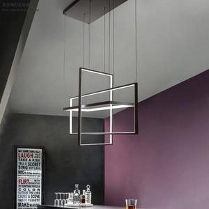 Işık Asma Salon Yemek Odası Yatak Odalı Villa Postmodern Loft Siyah Dikdörtgen Avize Modern LED Sarkıt