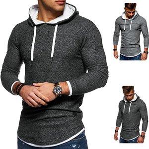 New Outono-Inverno 2020 Patchwork Hem Arc Hoodies Sweatshirts For Men manga comprida camiseta com capuz Tops pulôver
