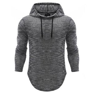 Autumn Long Sleeve Hooded T Shirt Vintage Mens Slim Fit Pullovers T-Shirt Male Pure Color Tee Shirt Tops 2020 New