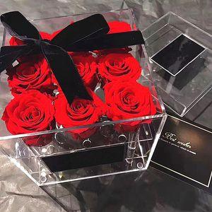 Rose Stockage Maquillage transparent Organisateur acrylique Boîte à fleurs pour les filles cadeau Y1113