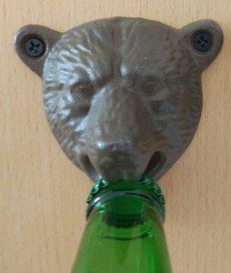 Vintage Bear Head Bottle Opener Cast Iron Wall Mounted Beer Bottle Cap Opener Bear Teeth Bite Bottle Opener Free Shipping