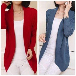 S XL Primavera Outono Plus Size Slim Woman Slim Sweater Casaco solto na seção longa Cachecol Cardigan Knitwear Outerwear
