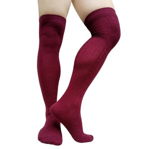 Winter Knitted Mens Long Socks Striped Thermal Thigh High Over Knee Male Stockings Dresss Suit Formal Hose