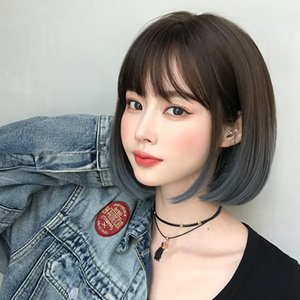 Fashion wig female Bobo student head round face full head cover natural gradient color inner buckle straight hair