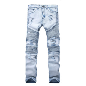 Represent clothing pants slp blue black destroyed mens slim denim straight biker skinny jeans men ripped jeans