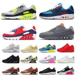 ayakkabı nike air max airmax 90 Erkek Bayan Koşu Ayakkabıları BOYUT ABD 12 Camo Moss Yeşil Glasgow Pembe Erkekler Eğitmenler 90'lar Spor Sneakers 46 EUR