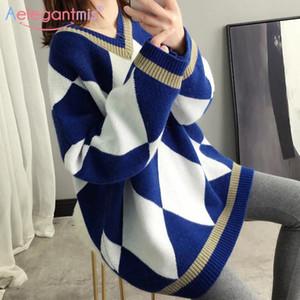 Aelegantmis Argyle cuello en V de gran tamaño de mujeres suéter 2020 del suéter de punto ropa de otoño flojo coreano de la vendimia larga de las señoras suéter