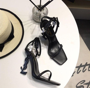 Марка роскошный новый сексуальная женщина лета пряжки ремень заклепки сандалии туфли на высоком каблуке Заостренный носок моды Single High heel10.5cm