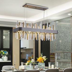 New rectangle Chandelier Lighting Luxury Modern Brushed Gold Black Stainless Lamp Creative Design Light Fixtures For Dining Room