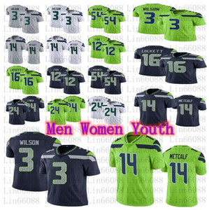 Männer Frauen Jugend 3 Russell Wilson 14 DK Metcalf 54 Bobby Wagner 24 Marshawn Lynch 16 Tyler Lockett Football Jersey