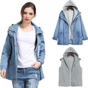 Women Winter Autumn Hooded Long Coat Long Sleeve Jeans Denim Jackets Female Casual Windbreaker Tops Outwear Denim Feminine