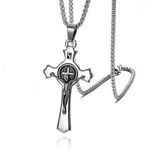 Anhänger Halsketten Punk Edelstahl St. Benedict Medaille Heilige Jesus Inri Kreuzwand Kruzifix Für Männer Katholische Schmuck CSSML1