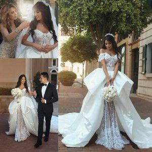 Dubai Two Pieces Wedding Dress with Detachable Train Lace Bridal Gowns Off Shoulder Elegant Boho Vintage Wedding Dress