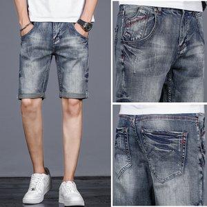 Haut de gamme denim stretch Straight hommes exquis pantacourt short en jean nostalgiques de la mode masculine