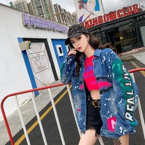 SexeMara fashion The New Loose Leisure Wild Weird printing Denim jacket Free shipping