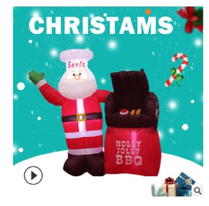 2021 Hot selling Christmas ornaments 1.5m Santa Claus oven inflatable air mold festival decoration props