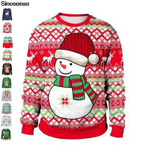 Unisexe laid de Noël Bonhomme de neige 3D SWEATSHIRT Imprimé Jumper Noël drôle Automne Hiver Pull de vacances Chandails de Noël