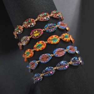 2020 Браслет Новой красочного лето Регулируемой Радуга Sea Shell для женщин ручной работы Cowrie Rope Chain Моды Пляж Ювелирного подарка