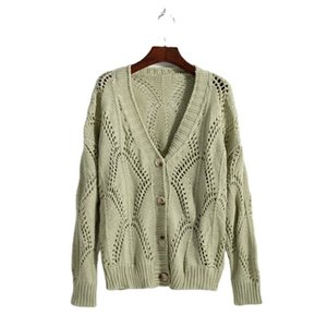 IU Li Zhien's same gray green hollow knitted cardigan, thick line sweater is versatile, loose and small style outside MSMP