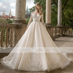 Gorgeous Appliques Long Sleeve A-Line Wedding Dresses 2020 Luxury Crystal Sashes Beaded Plus Size Princess Bride Gowns