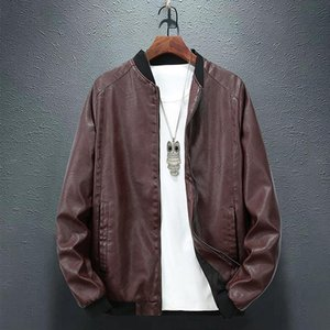 2020 New Autumn Leather Men's Fashion Fashion Brand Loose Casual plus Fat All-match Large Size Jacket