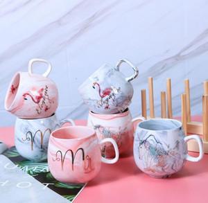 2020 New Styles Lovers Flamingos Marble Ceramic Mugs Couple Lover's Gift Morning Mug Milk Coffee Tea Breakfast Creative Porcelain Cup