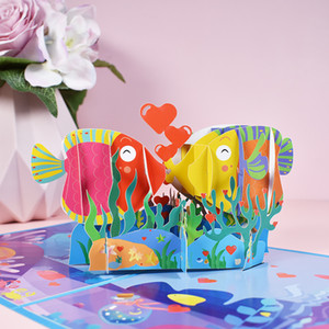 3D Valentine Greeting Card Pop Up Kissed Fish Shaped Valentine Wedding Party Greeting Card with Envelope Festival Supplies