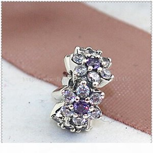 New 2016 Spring 925 Sterling Silver Forget Me Not Spacer Charm Bead with Purple and Clear Cz Fits European Jewelry Bracelets & Necklace