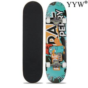 Skateboard Double Rocker Board Maple 4 Wheels Teenager Adult Figure Skating Street 6 Colors Matte Surface Board Skull Red Colors