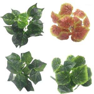 Декоративные цветы венки искусственные пластиковые листья растение зеленое красное виноградное сердце вечнозеленое для домашнего стола украшения1