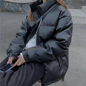 Hzirip 2020 New Winter Coat Women Cotton-padded Solid Thick Warm PU Jacket High Quality Loose Bread Clothes Outwear Parkas