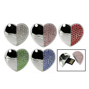 Diamond Beautiful Heart Pendrive Memory Stick Diamond Heart Necklace USB Flash Pen Drive 4GB 8G 16G 32GB Lover's Gift