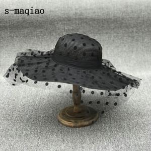 S-Maqiao Новый летний французский соломенная шляпа элегантная точка сетка леди солнце шляпа открытый женщин досуг кепки мода каникула Y200714