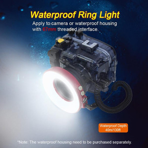 3000LM Underwater Flash Camera Ring Light 40M 130ft 4 Modes 3 Colors Light for 67mm Lens Interface with USB Charge SL-108