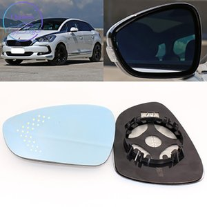 Sideview Rear Mirror Lens For Citroen DS5 Blue Glass With Heating Function&Turn Signal LED Light Large Vision Anti-Glare
