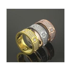 패션 핫 세일 브랜드 쥬얼리 남성 / 여성 풀 CZ 다이아몬드 러브 링 골드 3 색 커플 반지 티타늄 강철 높은 광택 연인 반지 5YZO