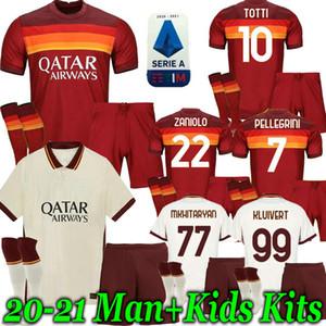 Взрослые дети Kit 20 21 ROMA Джерси дом вдали футбол 2020 2021 AS PASTORE Джеко Zaniolo EL Шаарави РИМ ФУТБОЛЬНЫЙ ребенок Мальчик рубашках
