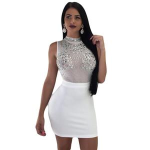 Yeni Seksi Rhinestones Diamonds Sparkly Elbiseler Kadın Balıkçı Yaka Kolsuz Mesh Sheer Zarif Gece Kulübü Parti Bodycon Mini Elbise