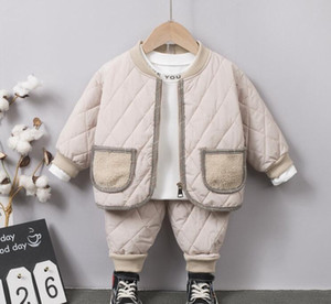 Package post baby cotton padded clothes suit 2020 autumn   winter boys' extra heavy coat two piece sets children's warm out cotton padded cl