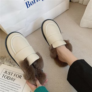 Matte&Japanned leather fur slippers women pantuflas winter cotton shoes for women sandals plush mules cover toe furry slides2020