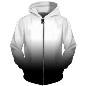 Cloudstyle 3D Men Hoodies Zip Up Black White Gradient Simple Solid 3D Print Streetwear Jacket Men Women Outwear Plus Size 5XL