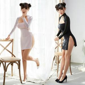 Sexy Sheer Lace Screen Neck-hanging Women Nightdress Lingerie Side Split Mini Dress
