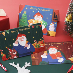Cute Cartoon Chritmas Greeting Card With Kraft Paper Envelope Message Postcard Thank You Cards Creative Gift