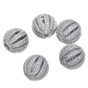 10mm Watermelon Balls Micro Zircon Loose Spacer Craft European CZ Beads For Charm Bracelet Necklace Fashion DIY Jewelry Making