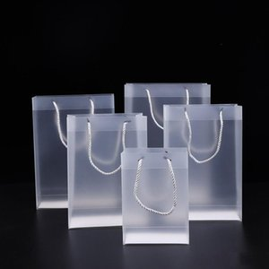 8 Size Frosted PVC Plastic Gift Bags With Handles Waterproof Rransparent PVC Bag Clear Handbag Party Favors Gift Wrap EWD2857