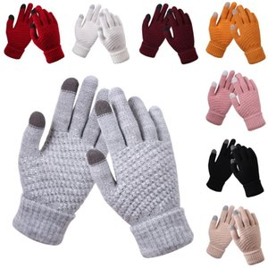 9 Styles Knit Touch Screen Gloves Winter Knitted Gloves Fashion Stretch Windproof Warm Full Finger Mittens Kimter-X732FZ