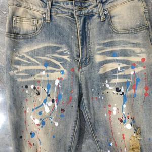 Новый дизайн зимние мужские джинсы синий высококачественный дизайнерская распылительная краска сращенная разорванная высокая улица уничтожена джинсовые джинсы US размер W28-W40